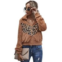 2021 Autunno Inverno Giacca da donna Cappotto Cappotto di Turn-Down Collare Casual Leopard Stampa Giacca corta Donne Velvet Maniche lunghe Vestiti invernali