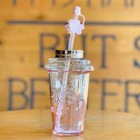 جديد ستاربكس ساكورا الوردي التدرج زجاج القش كأس 16 أوقية الكرز زهر موسم الزجاج القدح القهوة مع البتلة المكونات الغبار