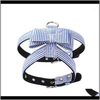 Collars Leashes Supplies Home & Gardenpet Striped Anti-Explosion Harnesses Bow Knot Vest Chest Belt For Dogs, Navy Blue Pink Black Collar Pet