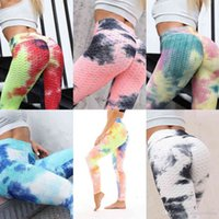 Women Designers Clothes 2021 pant water ink jacquard tie dyeing bubble Yoga Pants slim and hip lifting exercise Leggings