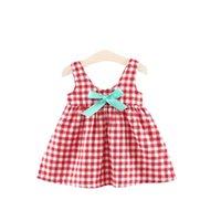 Girl's Dresses Summer Baby Girl Dress Children Cotton Sleeveless Lattice Bow Cute Kids For Girls Fashion Clothing