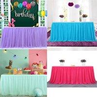 테이블 스커트 183 x77 cm 웨딩 파티 Tutu 얇은 덮개 식기 천으로 아기 샤워 가정 장식 스커트 생일