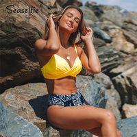 Sedefie Push Up High Cintura Bikini Sets Mujeres Sexy Amarillo y Palma Imprimir Bikini Dos Piezas Swimsuits 2021 Playa Sitking Suit 210320