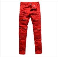 Classic Slim Mens Jeans Men Clothing Fit Straight Biker Ripper Zipper Full length Men's Pants Casual Pants size 36 34 32