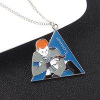 لعبة ديترويت: تصبح شخصية الإنسان صورة البند الأزرق بالتنقيط النفط مثلث قلادة سلسلة مجوهرات اكسسوارات هدية قلادات