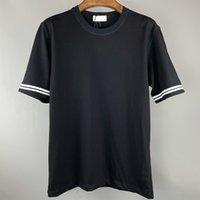 Tasarımcı Giysi Yaz Basit Işlemeli Ekip Boyun erkek T-Shirt Çift Gevşek Şerit Kısa Kollu Avrupa ve Amerikan Rahat Polo Gömlek