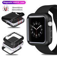 Магнитные защитные чехлы для Apple Watch Series 1 2 3 4 5 6 SE металлический магнитный бампер рамка Flip Cover Case Fit Iwatch 40 мм 44 мм 38 мм 42 мм