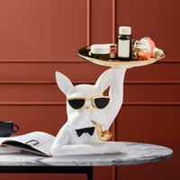 Nordic Resin Bulldog Sculpture Jewelry Valet Tray for Men and Women, Key, Wallet, Coin Box, Office Desktop Organizer