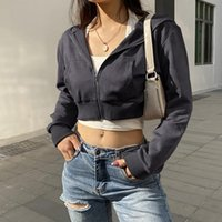 Women's Vests Women Loose Coat Solid Color Long Sleeve Hooded Jacket With Pockets Black  White Female Streetwear