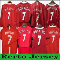 Homem 03 04 05 05 07 08 United Ronaldo Manga Longa Retro UCL Final Final Casa Manchester Jersey Utd Beckham Cantona Keane Scholes Giggs Classic Mangas Curtas Unifom