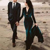 New Arrival Evening Dresses 2022 V Neck Velvet Mermaid Caftan Dubai Formal Party Gowns Longo Prom Dress Long Sleeves