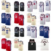 Allen 3 Iverson Black White Retro Jersey Ben 25 Simmons Joel 21 Camisa de baloncesto Embiid City