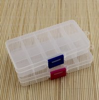 Wholesale-Practical Adjustable Plastic 10 Compartment Storage Box Case Bead Rings Jewelry Display Organizer Container ToolBox 65*130*21mm DH8568