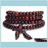 Beaded, Strands Bracelets Jewelryest 108 *0Dot6Cm Mala Bracelet Prayer Beads Tibetan Buddhist Rosary Wooden Bangle Buddha Jewelry For Christ