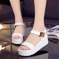 Sandals Women Summer Open ToeSandals Woman Wedges Heel Platform Female Fish Mouth Rome Ladies Fashion White Black Shoes