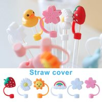 Creative Silicone Straw Tips Cover Reusable Drinking Dust Cap Splash Proof Plugs Lids Anti-dust Tip Sunflower Cherry Blossom Rainbow Cat Paw For 6-8mm Straws YFA2992