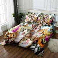 Set di biancheria da letto 3D Felice Cat Famiglia Biancheria da letto personalizzata con federa Cute Home Tessuti Adulto Decor Adult Duvet Cover