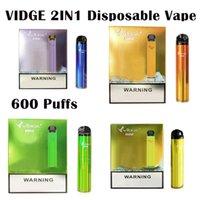 Otantik Vidge Mini 2 in 1 Tek Kullanımlık Vape 600 Puffs E Sigara Kiti Cihazı 400mAh 1 + 1 ml Pod İki Vaping Deneyimi 2in1 10 Renkler Buharlaştırıcı
