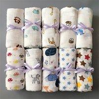 Baby Muslin Swaddle Mantas de algodón verano toallas de baño recién nacidos envoltura guardería ropa infantil swadding parisarc túnicas edredones 86 colores 342 k2