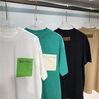 Mais novo Designer Luxurys Mens T Shirt Preto Branco Verde Off Design Carta Sacos Zipper Camisas Homens Mulheres t - shirts Manga Curta Europeia Sobre os Americanos S M L XL