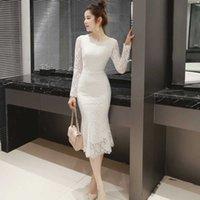 Robe de dentelle vintage pour femmes Automne élégant molleton ajusté à manches longues blanche blanche sirène sirène sheaht cocktail robes 210608