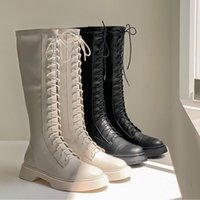 Boots YCSCL2021 British Lace-Style Versatile, Comfortable, High Thigh-High Rider Boots, Slim And Flat, But Knee-Autumn Winter34-40