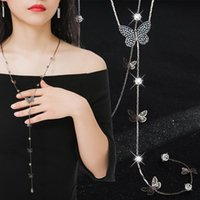 Pendant Necklaces Mosaic Rhinestone Long Butterfly Tassel Necklace Exquisite Crystal Light Luxury Simulated Pearl Sweater Chain Women