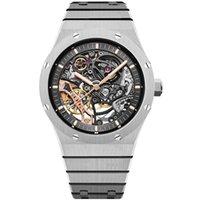 2021 Mens Automatic Hollow Watches Estilo Clássico 42mm Cinta de Aço Inoxidável Completo 5 ATM Impermeável Sapphire Super Luminous U1 Fábrica Assista Grátis Inteligente