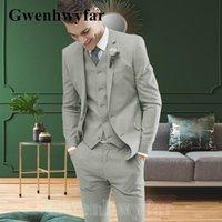 Men's Suits & Blazers Gwenhwyfar Autumn Style Suit Lapel Fashion Grey Groom Wedding Slim 3-piece Jacket + Pants Vest