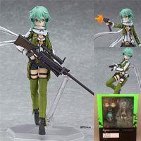 Lindo anime espada arte en línea figura brinquedos figma 241 sinon asada sao 2 pvc acción figura colección modelo niños juguetes muñeca 15 cm C0323