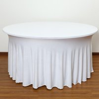 Table Cloth Ruffled Round Spandex Wedding Skirt Covers Lycra Stretch Cocktail Linen Party Event Decoration