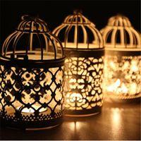 1pcs phare bougeoir suspendu lanterne cage cage métal creux holiday candlestick home mariage fête famille