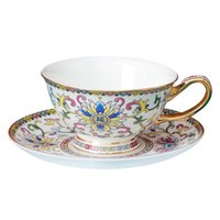 Fashion Creative Flower Coffee Cup Vintage Cute Mate Chinese Tea Set Royal Decorative Aesthetic Tazas Espresso Mug EH50CC Cups & Saucers
