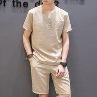 TrackSuits Summer manica corta T-shirt T-shirt in cotone vestiti di lino Trend V-NA in cappotto uomo allentato