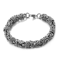 Amorcome 304 Stainless Steel Link Chain Bracelet for Women Fashion Armband Vintage Bangle Unisex Hand Jewelry Couple Gifts