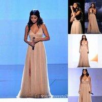 Hoge Kwaliteit Selena Gomez Rode Tapijt Avondjurken Chiffon Sweep Trein Formele Speciale Gelegenheid Jurk Party Gown Custom Made Plus Size Euse