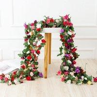 Dekorative Blumen Kränze 8ft 45 Köpfe Künstliche Seide Rose Girlande Blume Hängende Garten Hochzeitsdekor