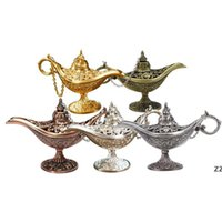 Fairy Tale Aladdin Magic Lamp Vintage Censer Creativo Metallo Aroma Burner Bruciatore Incenso Bruciatori di incenso Regalo di Natale Regali di nozze HWF10181