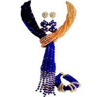 Pendientes Collar Estilo nacional Royal Blue Champagne Gold AB Nigerian Wedding Women Sets de cristal 10C-WJ-23