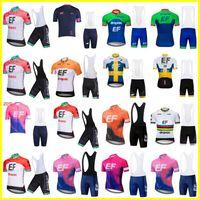 EF Education First Team Cycling Mangas cortas Jersey (BIB) Ciclismo Jersey Seco rápido Ropa de ciclismo Carretera Bicicleta Sportswear 32916