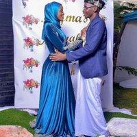 Arabic Dubai Plus Size Royal Blue Muslim Velvet Evening Dresses Lace Appliques Vestido De Noiva Long Sleeve Formal Prom Gowns