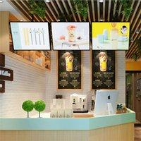 LED الخلفية مضاءة مطعم علامات H40 * W60CM لعرض إعلانات القائمة مع مخصص طباعة جرافيك حالة خشبية حزمة