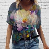 4# Harajuku Woman T-shirts Raphic Tee Plus Size Short Sleeve Printed V-neck Women's Shirt 2021 Boho Summer T-Shirt