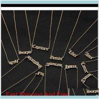 Pendentif pendentifs pendentifs bijoux lettre zodiac constellation colliers de constellation personnalisée acier inoxydable ancien collier anglais bijoux bijoux gi