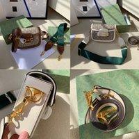 Gerçek Inek Derisi + Tuval 1955 Horsit Omuz Messenger Çanta Retro Eyer Çanta Klasik Neo Vintage Moda Crossbody Çanta Tasarımcı Çanta Lady Debriyaj Çantalar