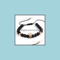 Beaded, Strands Jewelrycubic Zircon King Queen Crown Couple Charm Bracelet For Women Men Friendship 8Mm Matte Black Stone Beads Woven Rope B