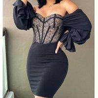 Casual Dresses Mandylandy Low Cut Black Bodycon Dress Sexy Tube Top Women Slash Collar Lace Long Sleeve Tight High Waist