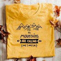 As montanhas estão chamando e eu devo ir camisetas homens mulheres acampar t-shirt chancy verão gráfico algodão caminhadas ao ar livre tshirt mulheres t-shi