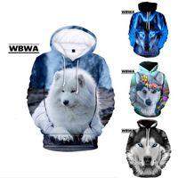 Personality oversized Samoyed Wolf hoodie Boy and girl 3D printed sweatshirt Harajuku autumn winter