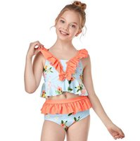 أزياء الصيف عطلة أطفال طفلة فتاة اثنين قطعة بيكيني مجموعة لطيف الأزرق ستار طباعة حبال عارية الذراعين ملابس السباحة الاستحمام الأطفال السباحة بحر بدلة